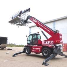 Telehandler with camera platform for film shoots