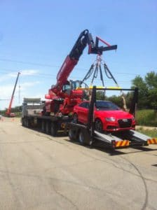 Mobile crane used in TV advert
