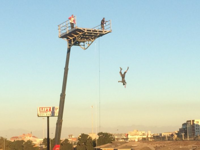 Telehandler used as a stunt platform on a film shoot