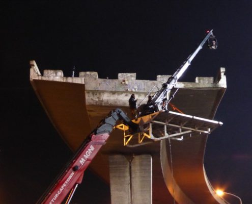 Magni mobile crane carries supertechno 30 camera crane at film shoot