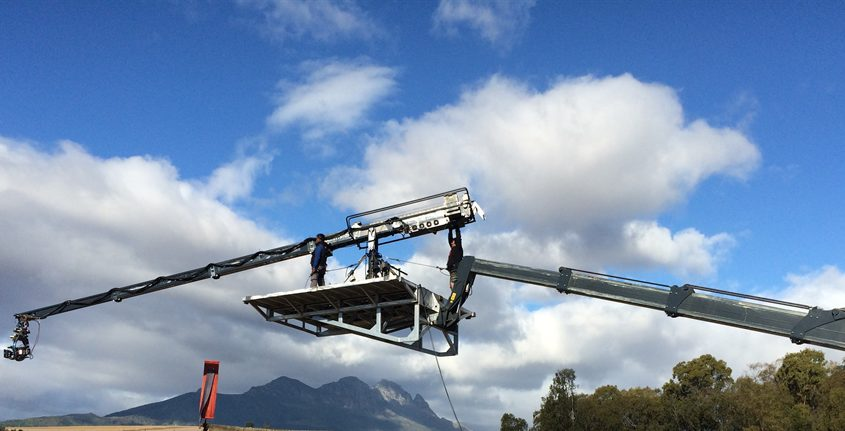 Mobile crane camera platform supporting supertechno camera crane.