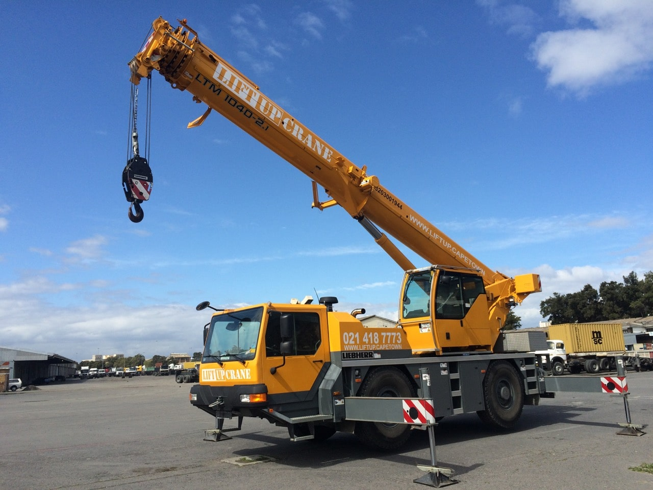 Our 40-ton Liebherr mobile crane on its outriggers.