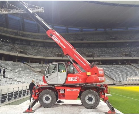 Mobile crane telehandler at a film set in Cape Town Stadium