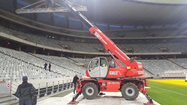 Mobile crane at a film set in Cape Town stadium