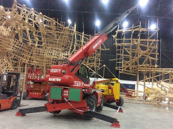 Mobile crane on movie production set
